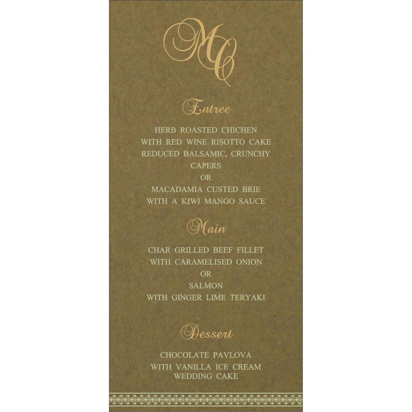 Menu Cards : MENU-8247E - 123WeddingCards