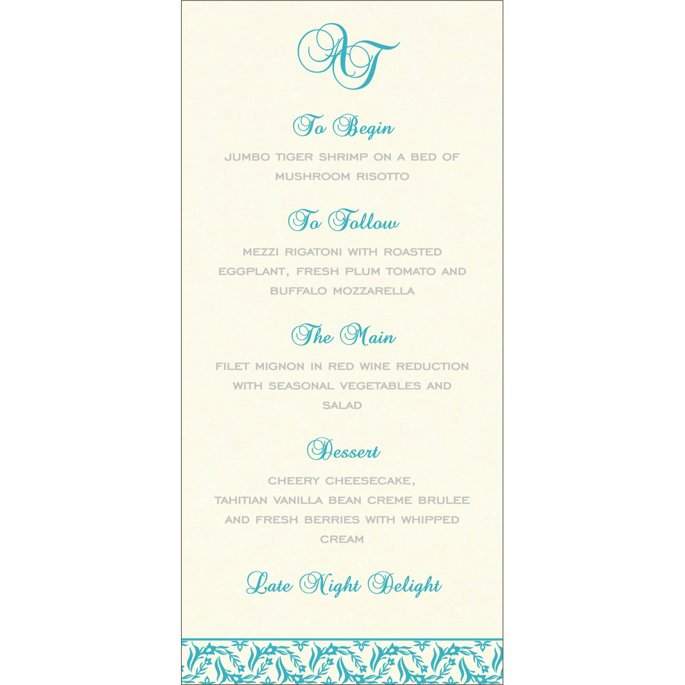 Menu Cards : MENU-8249D - 123WeddingCards