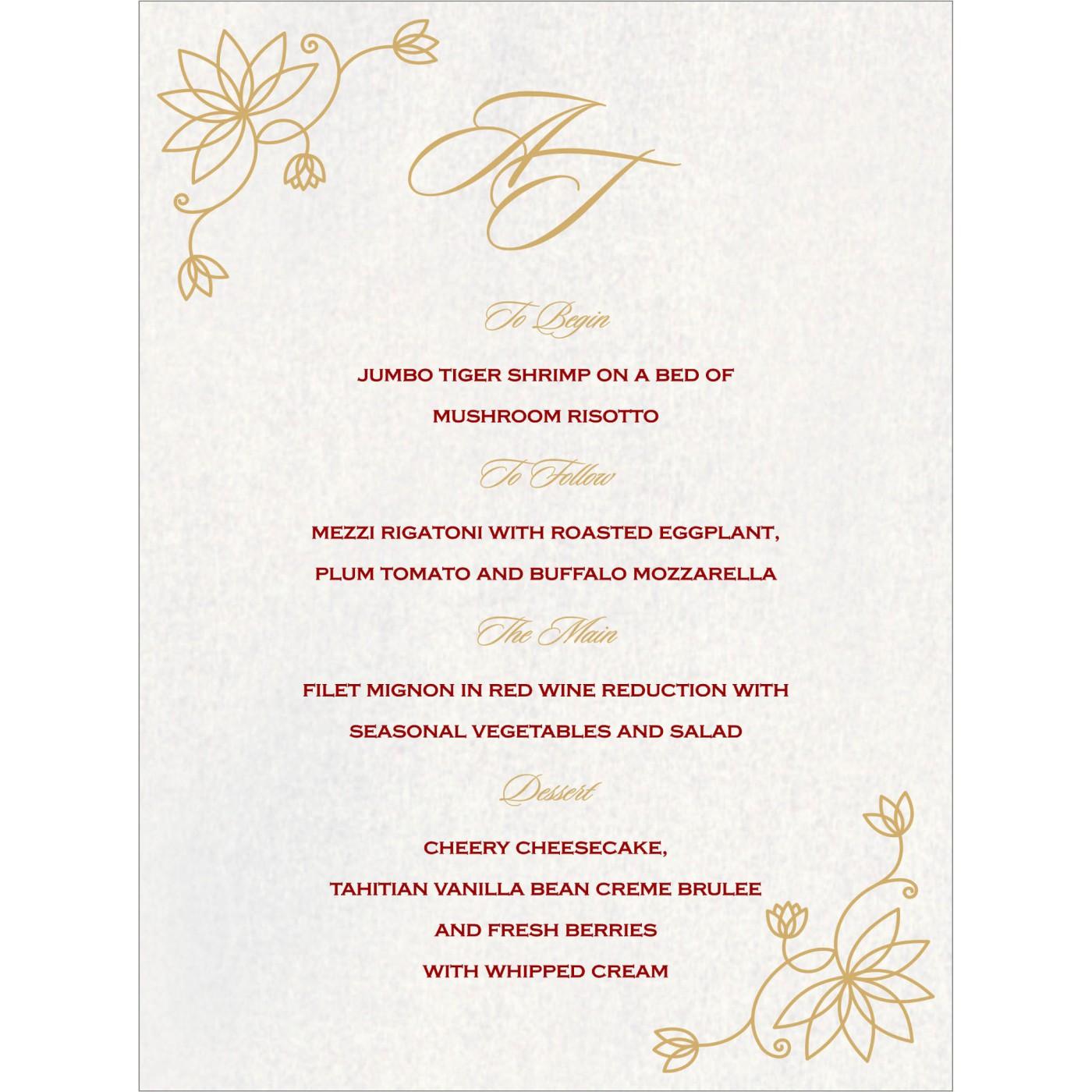 Menu Cards : MENU-8251H - 123WeddingCards