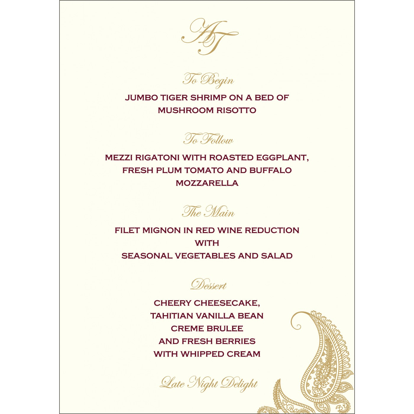 Menu Cards : MENU-8252A - 123WeddingCards