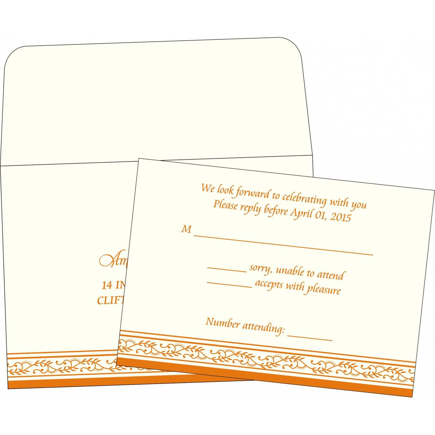 RSVP Cards : RSVP-8202B - 123WeddingCards