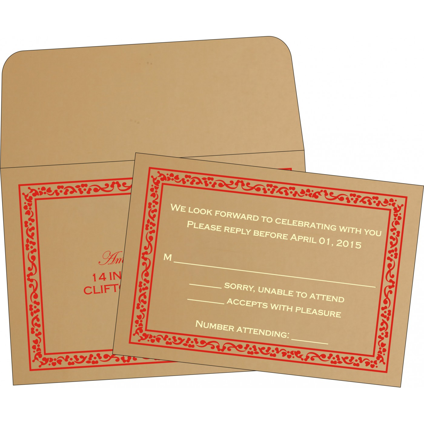 RSVP Cards : RSVP-8214G - 123WeddingCards