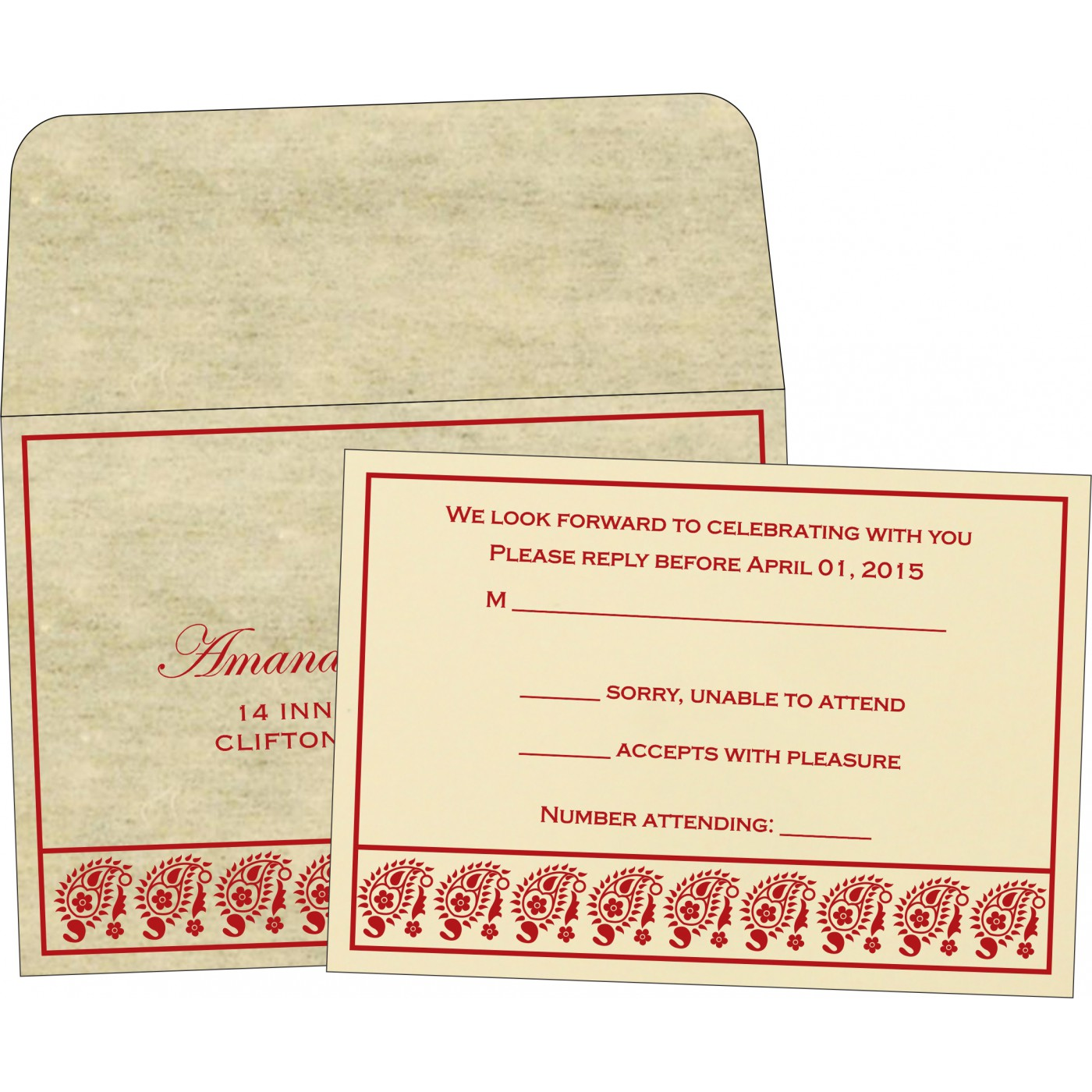 RSVP Cards : RSVP-8218B - 123WeddingCards