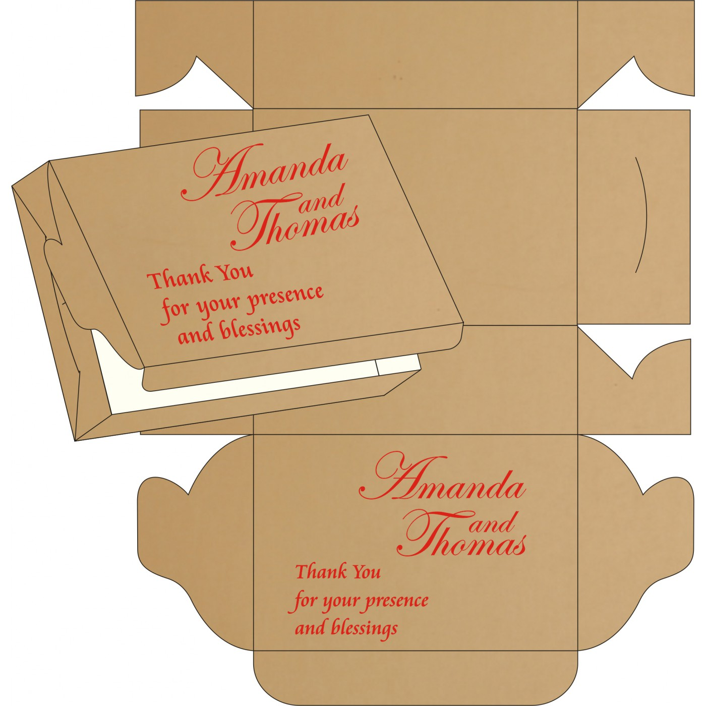Cake Sweet Boxes : SB-8214G - 123WeddingCards