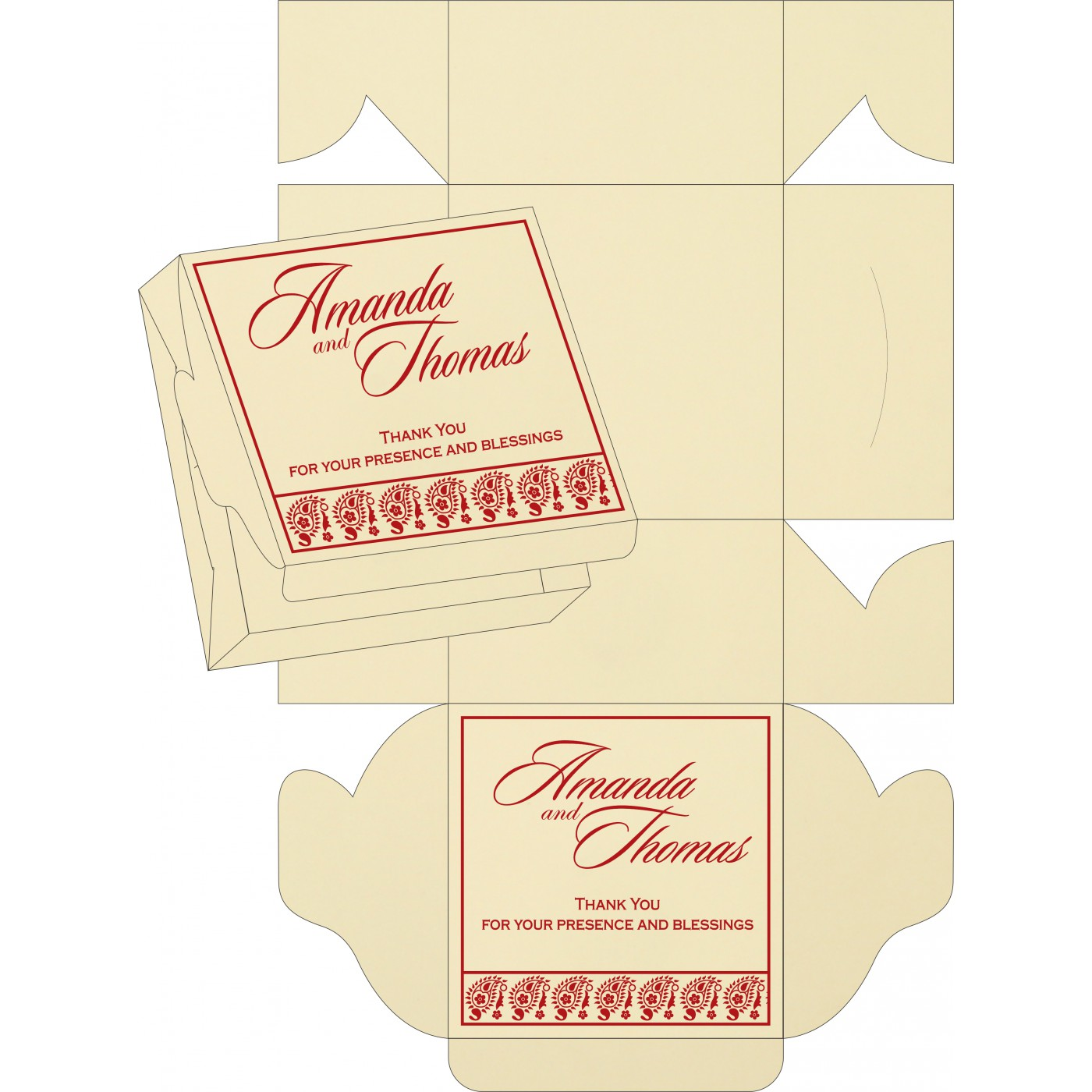 Cake Sweet Boxes : SB-8218B - 123WeddingCards