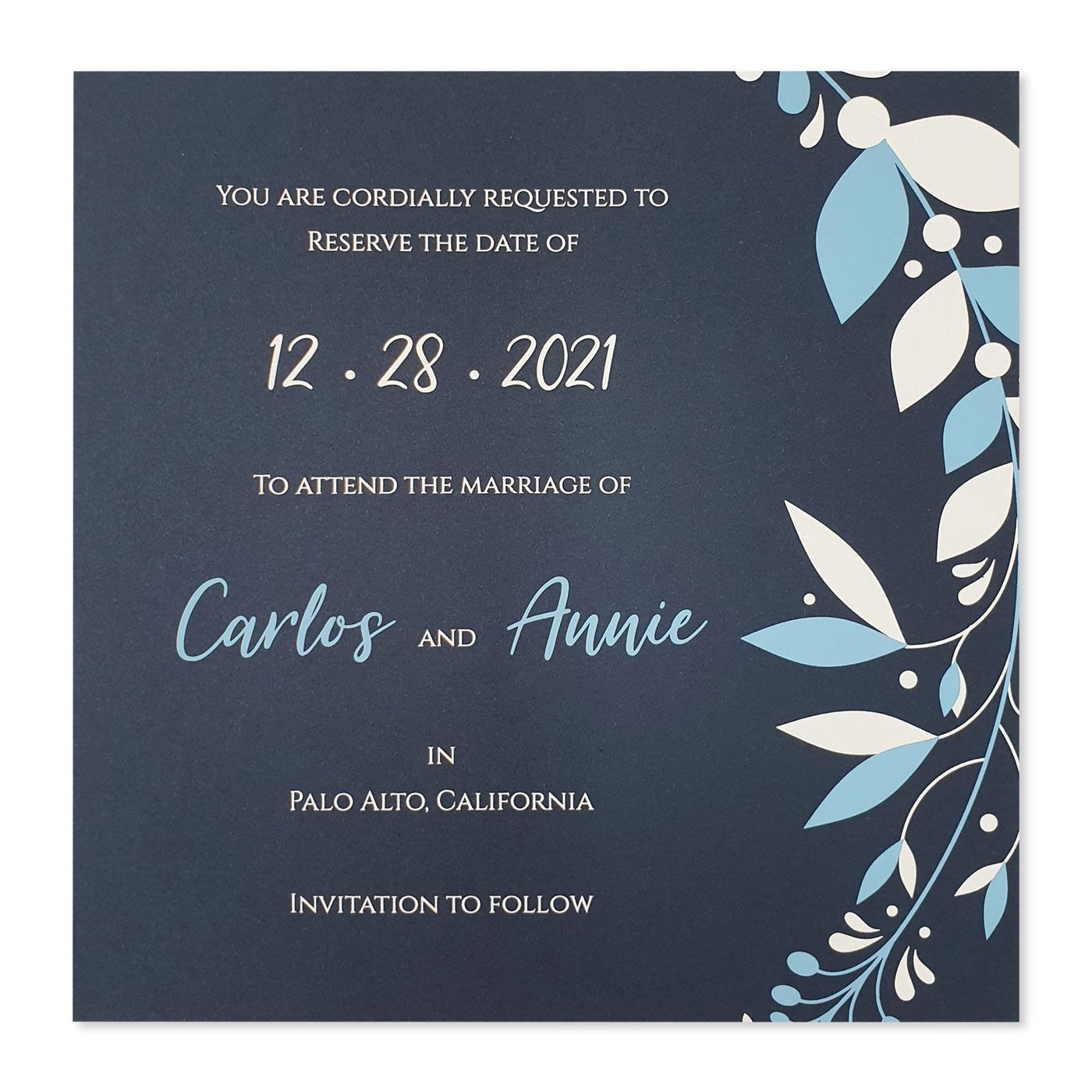 Save The Date Cards : STD-CORNER_WREATH - 123WeddingCards