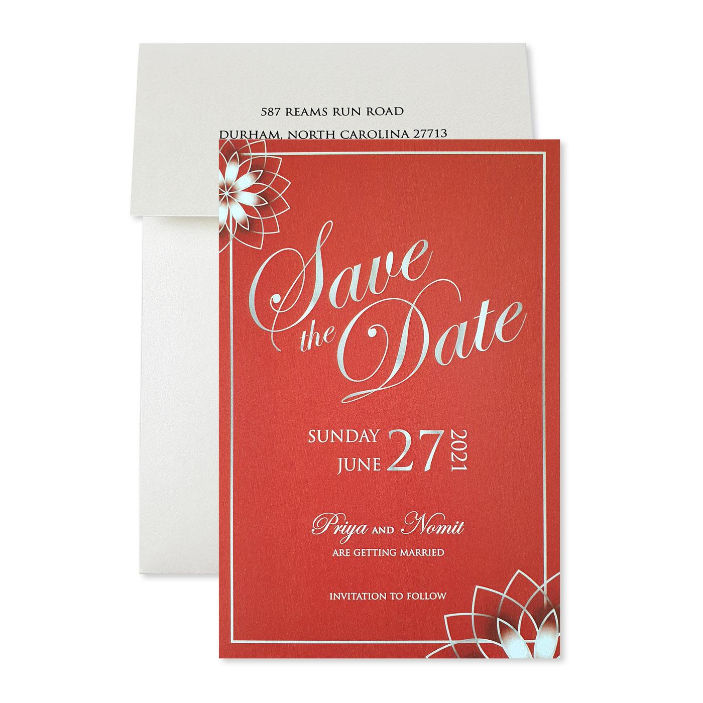 Save The Date Cards : STD-ROSE_OUTLINE - 123WeddingCards