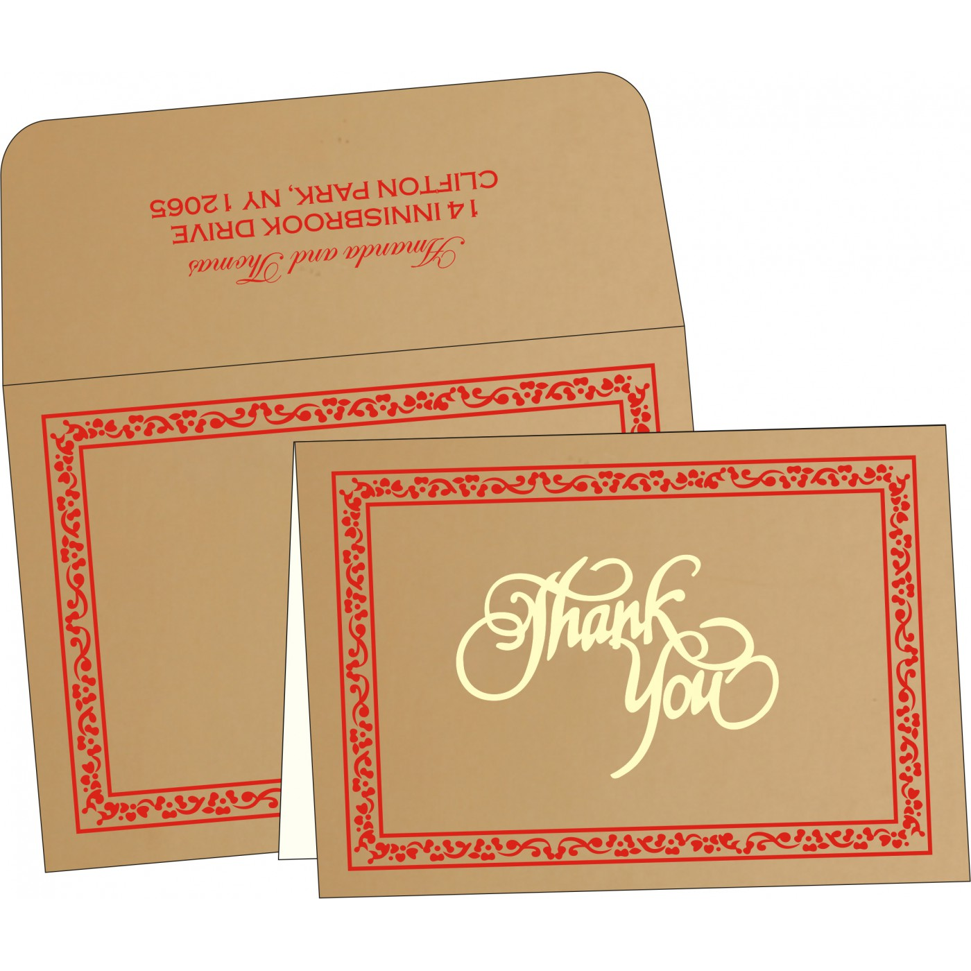 Thank You Cards : TYC-8214G - 123WeddingCards
